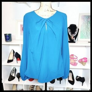 NY&Co keyhole Long Sleeve Blouse in Cobalt Blue